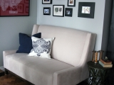 Kitchen - Love seat and art wall
